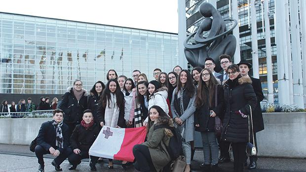 The Maltese delegation outside the European Parliament in Strasbourg.