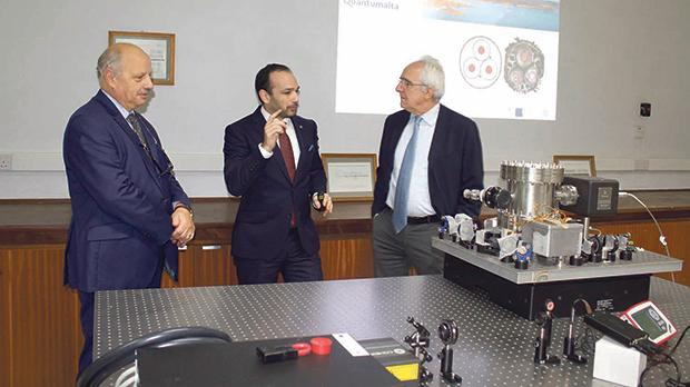 Italian Ambassador Mario Sammartino (right) touring one of the laboratories accompanied by (left) University rector Alfred Vella and physics senior lecturer Andre Xuereb.