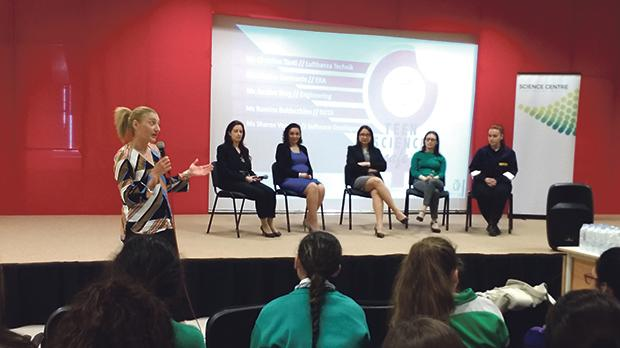 The panel discussion regarding STEM careers for women.