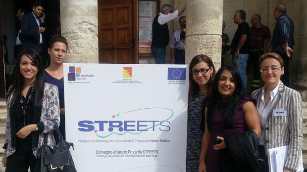 Delegates from the University's Institute for Climate Change and Sustainable Development at the project launch conference in Vittoria, Sicily, (from left) Nicolette Formosa, Boglarka Toth, Deborah Mifsud, Luana Chetcuti Zammit and Maria Attard.