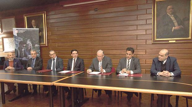 Prof. Joseph Cacciottolo (fifth from left) speaking at the signing of the memorandum of understanding in the presence of (from left) Emanuel Fenech, Evarist Bartolo, James Camilleri, Dr Frank Fabri, Prof. Andrew Azzopardi and Dr Dione Mifsud.