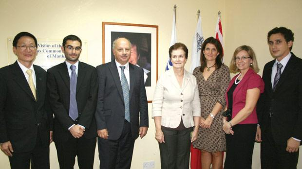 David Testa (second from left) with (from left) IOI executive director Cherdsak Virapat, pro-rector Alfred Vella, registrar Veronica Grech, head of the Department of International Law Patricia Cassar Torregiani, programme officer responsible for the bursary Antonella Vassallo, and Noel Vella, winner of the 2011 bursary.