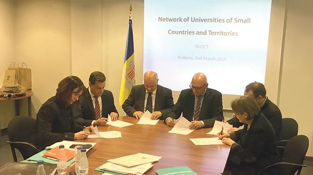 University rector Prof. Alfred Vella (third from left) with other university rectors and representatives signing the agreement setting up the network.