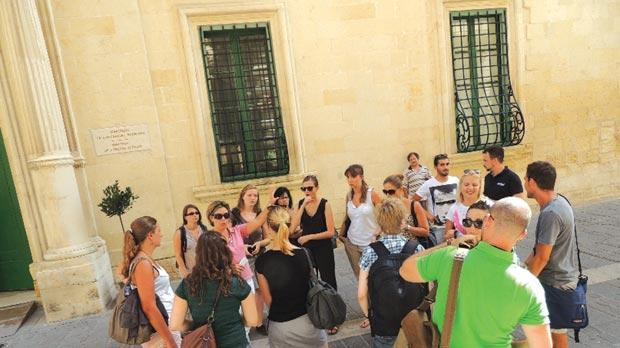 The students during a visit to Valletta.