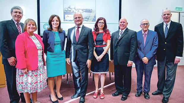 Parliamentary Secretary Deo Debattista (centre) pictured with speakers at the workshop (from left) Dr Michael Rouse from ACPE, Prof. Janet P. Engle, head of Chicago College of Pharmacy's Department of Pharmacy Practice, pro-rector Prof. Tanya Sammut-Bonnici, Department of Pharmacy head and EAFP president Prof. Lilian Azzopardi, Dr John Ressler from AACP, Prof. Anthony Serracino-Inglott, professor of pharmacy at the department, and Prof. Joseph T. Dipiro, dean and Archie O. McCalley chair at the Virginia Commonwealth University School of Pharmacy in Richmond, Virginia, US.
