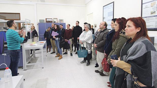 Researcher Julian Bonello addressing teachers at the Electromagnetics laboratory.