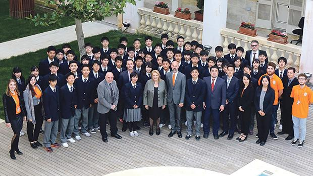 Students and officials from EC and Kendai High School with President Marie-Louise Coleirto Preca (front row, centre) at San Anton Palace.
