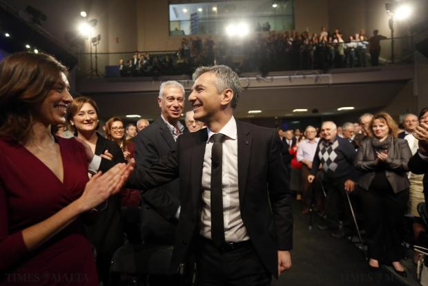 Nationalist Party leader Simon Busuttil arrives for the party's general council meeting at party headquarters in Pieta on November 30. Photo: Darrin Zammit Lupi