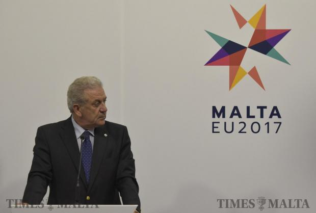 European Commissioner for Migration, Home Affairs and Citizenship Dimitris Avramopoulos looks to his left during an informal meeting of Justice and Home Affairs Ministers in Valletta Malta on January 26. Photo Mark Zammit Cordina