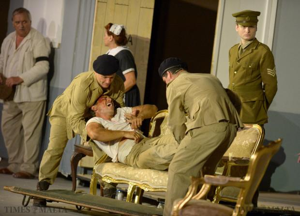 A scene from the play Faith, Hope u Charity which revolves around three young people caught in the terrible tragedy of war at Fort St Elmo on July 31. Photo: Matthew Mirabelli