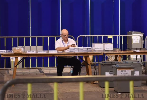 Nationalist Party electoral commissioner Joe Borg checks his mobile during vote counting for a new Nationalist Party leader in Floriana on September 18. Photo: Mark Zammit Cordina
