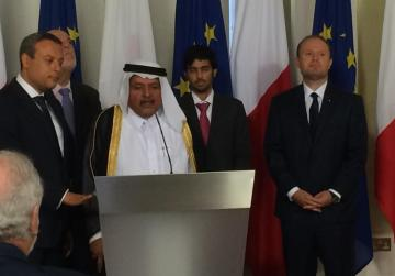 Sheikh Faisal seen with Prime Minister Joseph Muscat this morning.