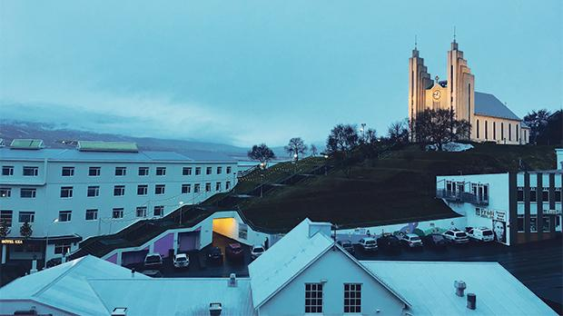 Akureyri, the second biggest 'city' in Iceland up north. Picture taken at midday.
