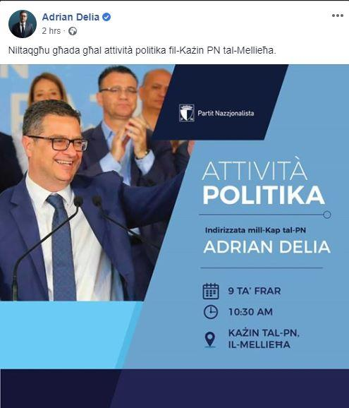 A Saturday morning Facebook post promoting the planned Mellieħa speech.