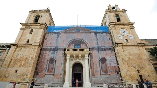 St John's Co-Cathedral is undergoing major restoration.