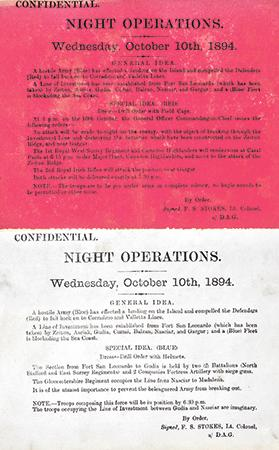 Instructions for night operations, October 10, 1894.