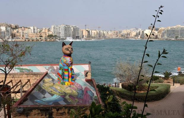 A sculpture of a cat sits on a rooftop in Independence Garden in Sliema on April 4. Photo: Chris Sant Fournier