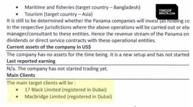 The email showing the main target client being 17 Black Ltd.