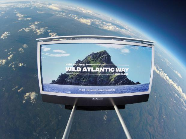 Undated handout photo issued by Tourism Ireland of an ad campaign sent 21 miles above planet earth to promote the scenic locations where parts of the latest Star Wars film were shot.