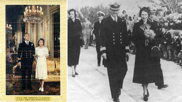 A poster of the royal couple probably issued before their marriage, which took place in 1947, once the King had granted Philip the style of His Royal Highness and the title of Duke of Edinburgh. Photo: Joseph A Farrugia. Right: Princess Elizabeth, accompanied by Captain Miles, being greeted by students from the Verdala Royal Nautical School and Tal-Ħandaq pupils assembled at Corradino Canteen, which was reopened following repairs to war damage in 1949. Photo: Peter Miles, son of Captain Miles