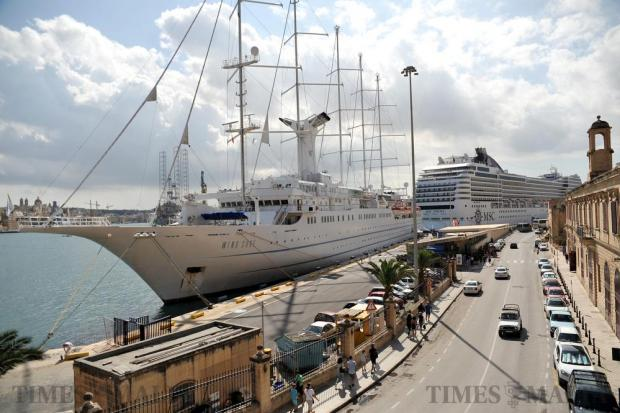 Cruise liners moored in Grand Harbour on October 12. Photo: Chris Sant Fournier