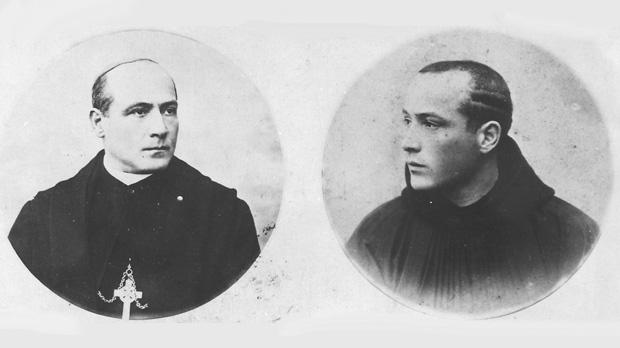 A rare photograph showing the two episodes in the life of Mauro Caruana: wearing the Benedictine habit when he was ordained priest in 1891 (right) and wearing the pectoral cross as bishop in 1916.