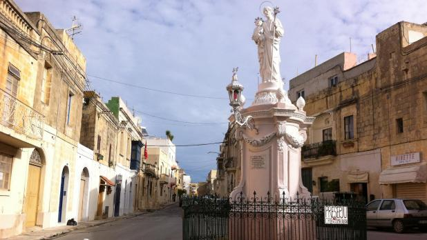 The road from Mosta to Naxxar where the dead cat was found attached to the railing.
