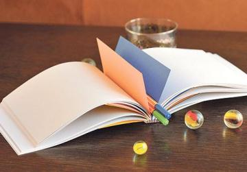Plexiglas spine with long stitch, multiple section binding and coloured section dividers gives the feeling of a bound document.