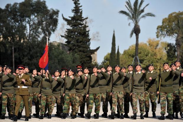 New AFM recruits march at their Passing Out parade at the AFM barracks on March 28. Photo: Chris Sant Fournier