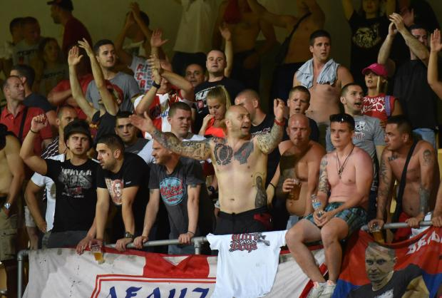 A Serbian well-known ultra, Ivan Bogdanov, chants for his team Red Star Belgrade during a Europa League qualifying game against Floriana FC at Hibernians Stadium on July 6. Photo: Mark Zammit Cordina
