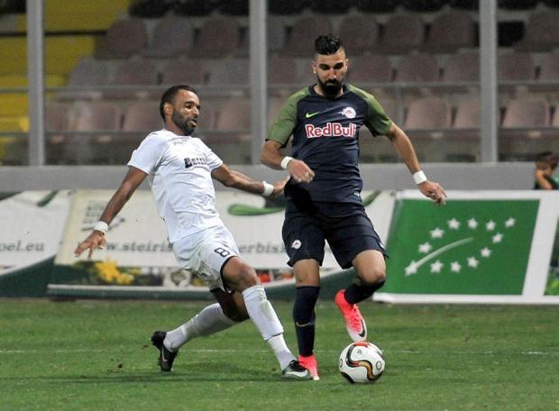 Hibs defender Rodolfo Soares challenges Munas Dabbur during last week's first leg at Corradino.
