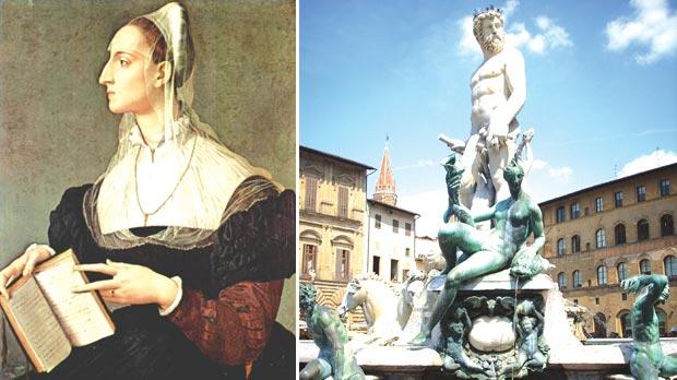 Portrait of the poetess Laura Battiferra by Agnolo Bronzino. Right: The Biancone Fountain in Florence by Bartolomeo Ammannati, husband of Laura Battiferra.