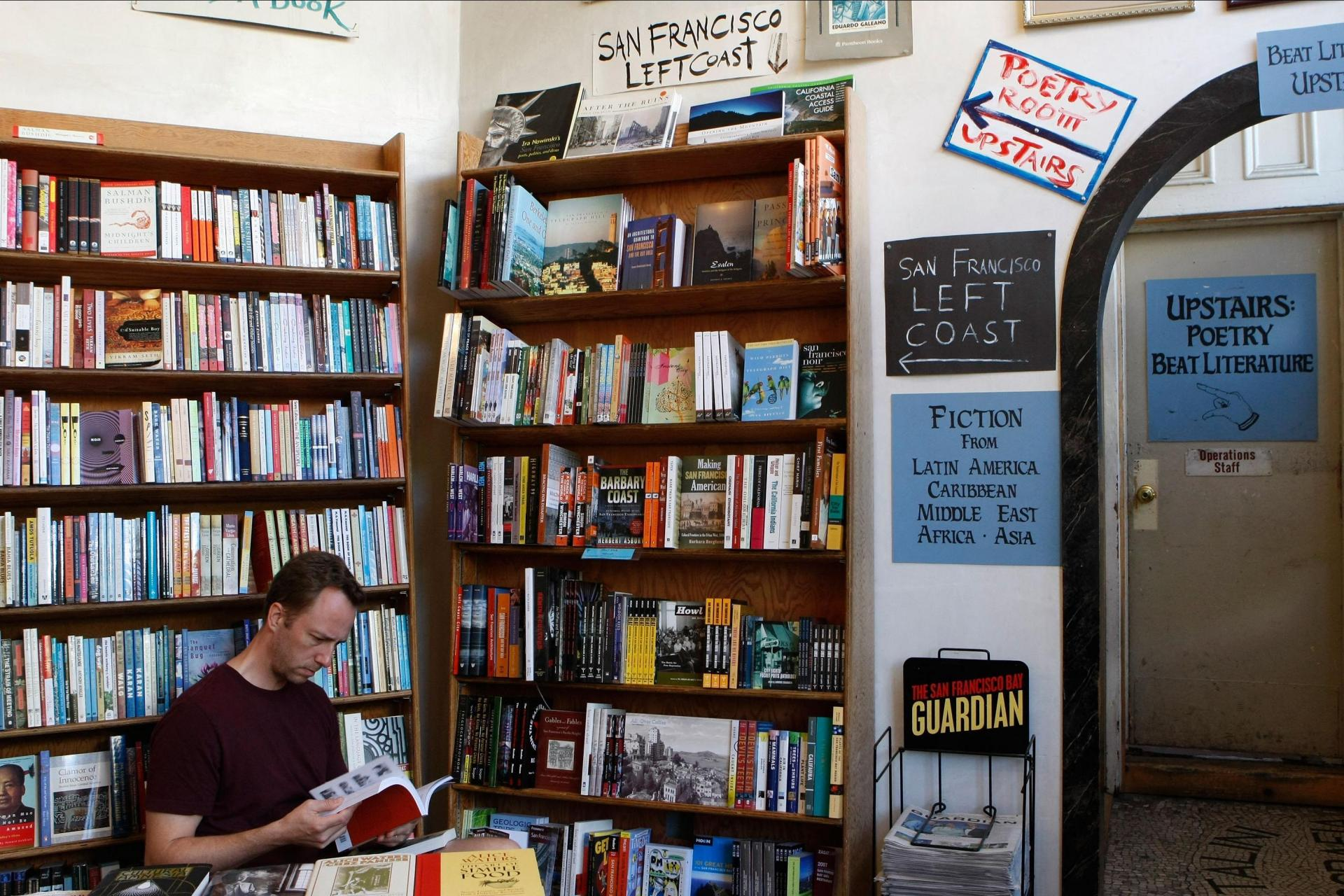 Inside the City Lights bookshop. Photo: Justin Sullivan/Getty Images North America/AFP