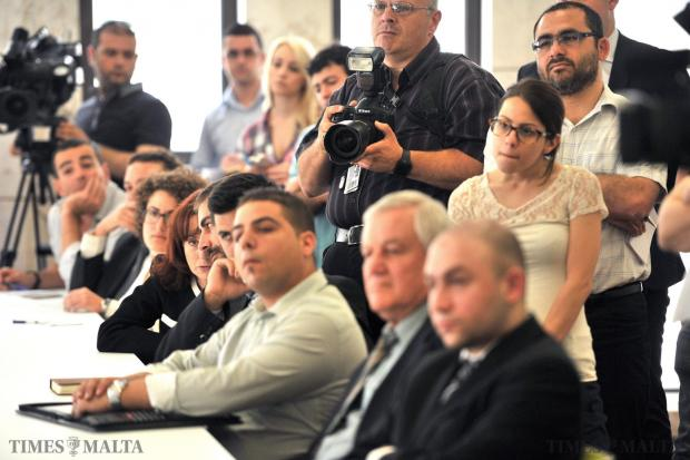 Members of NGOs and the media being addressed by Opposition leader Simon Busuttil at the Opposition Room in the new Parliament building on May 16. Dr Busuttil told the NGOs the PN was ready to do its part but urged civil society to take the lead. Photo: Jason Borg