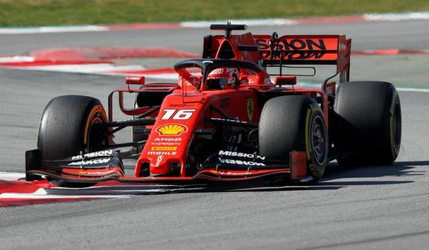 Ferrari's Charles Leclerc in action during testing.