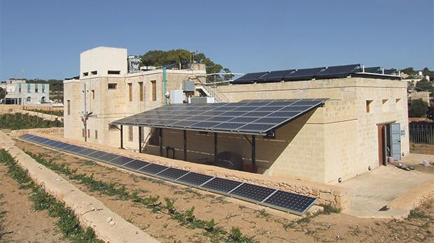 PV panels create a canopy and cover part of the roof at the wine information centre in Buskett. Photo: Robert Ghirlando