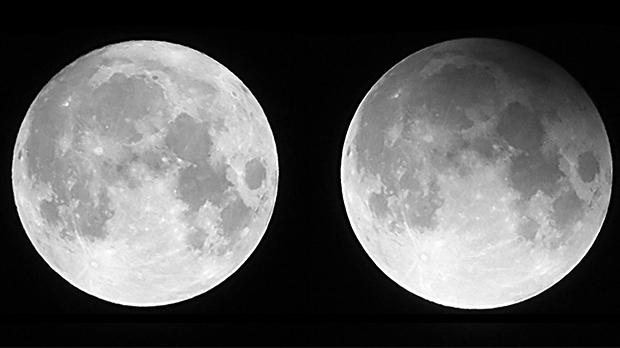Last month's lunar eclipse was unusual in that the moon did not manage to enter the denser part of the Earth's shadow but only skimmed the lighter part. This type of eclipse is called a penumbral eclipse and the difference between a typical full supermoon (left-hand side) and February's eclipsed moon (right-hand side) is clearly visible in these two comparison photos, shot by Tony Tanti from Marsaxlokk.