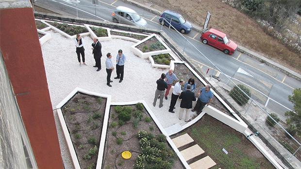 The demonstration green roof of the University of Malta's Faculty for the Built Environment. It is open to visitors all year round during office hours.