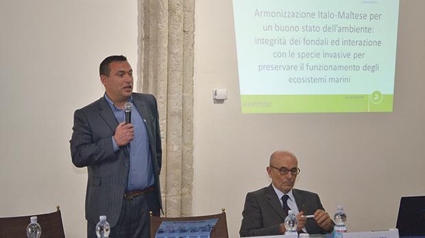 Prof. Alan Deidun (left) addressing the Harmony project kick-off meeting, with University of Palermo rector Prof. Enrico Miccari.