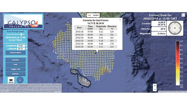 A map of sea surface current generated by the Calypso high-frequency radar observing system.