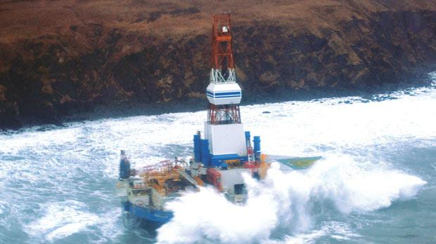 Shell's Kulluk oil rig ran aground in Alaska on December 31 and the US Coast Guard scrambled to prevent fuel from leaking. Photo: Reuters