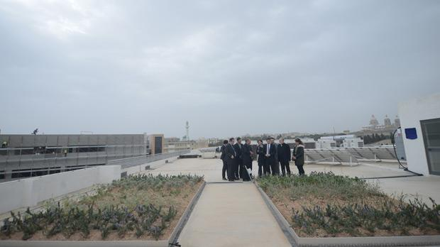 The trays of plants on the roof of Mcast's Institute of Applied Science in Paola.