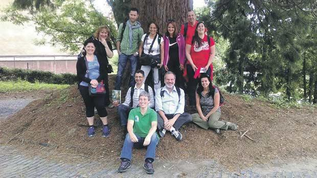 The Maltese delegation under the shade of a sequoia tree at the Forest Research Institute in Zvolen, Slovakia.