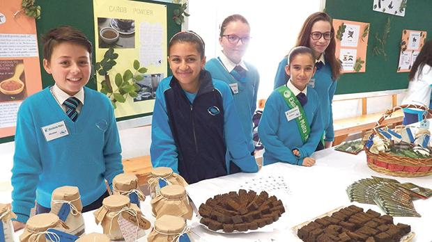 Students forming part of the ecoschool committee offered carob cake to visitors and sold carob syrup in jars during the event.