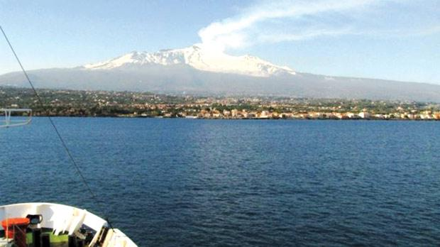 A view of the eastern Sicilian coast from on board the R/V Meteor.