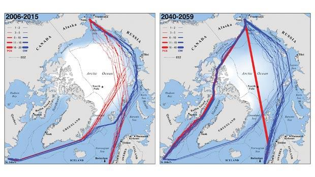 The above pictures show the fastest Trans-Arctic navigation routes during the peak shipping month of September at present (2006-2015) and by mid-century (2040-2059). Red lines indicate the fastest available routes for Polar Class 6 ice-breakers while blue lines indicate fastest available routes for common open-water ships. Where overlap occurs, line weights indicate the number of successful transits using the same navigation route.