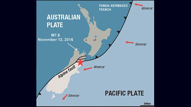 The red star marks the location of the magnitude 7.8 earthquake.  The black line shows the boundary between the Australian and Pacific plates and the red arrows show the direction and rates of plate movement. Source: IRIS