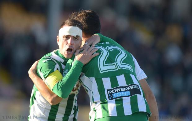 Floriana's Enrico Chiesa (left) and Andrea Scozzese celebrate after a team mate scored a goal against Naxxar Lions during their Premier League match at Hibs Stadium on December 12. Photo: Matthew Mirabelli