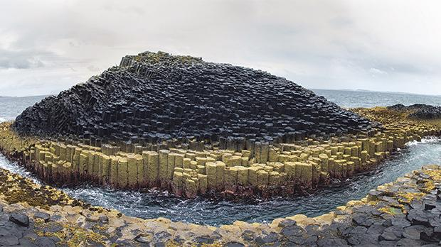 A panorama of the basalt columns of Staffa Island at Fingal's Cave, Inner Hebrides, Scotland.