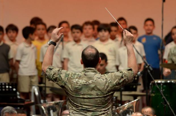The Armed Forces of Malta perform their final rehearsal at the Mediterranean Conference Centre on May 26 before their Charity Concert in aid of the Marigold Foundation. The concert, which also includes a choir of about 80 students from De La Salle College and St Joseph School, will feature a varied repertoire of songs from Les Miserables, Phantom of the Opera and the Beatles. Photo: Matthew Mirabelli